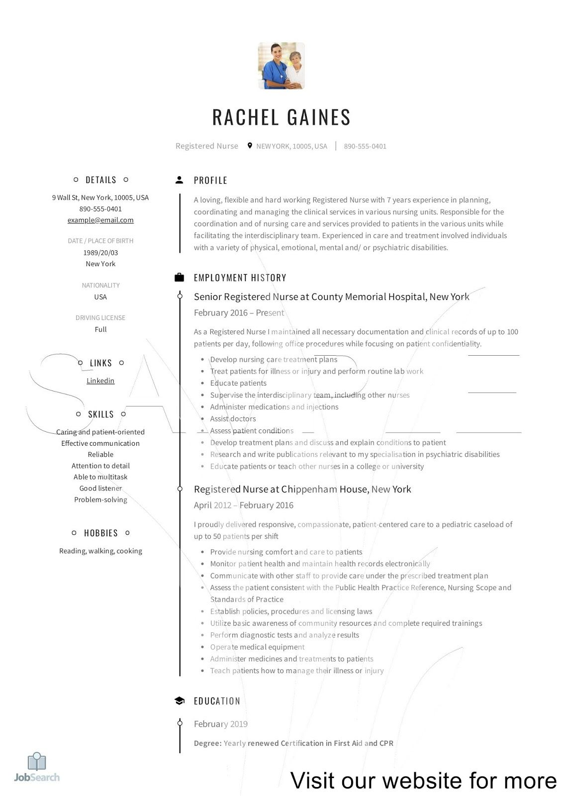 Nurse Resume Examples Cv Template 2020 in 2020 Resume