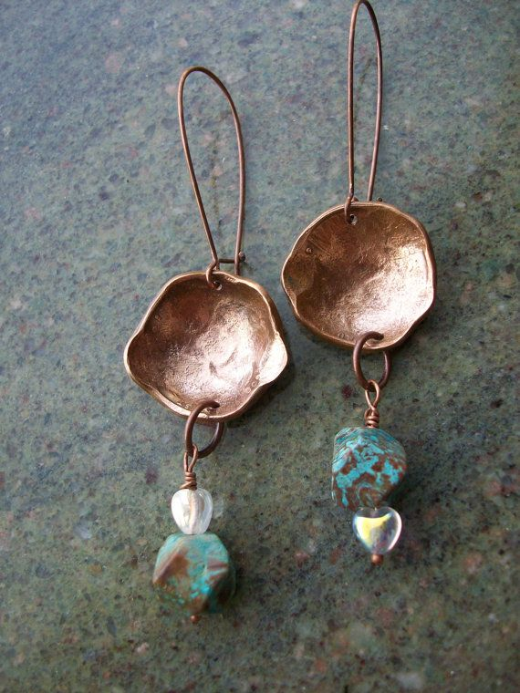 Copper Earrings Dyslectic Jaspar Hand Hammered and by CENTiment, $26.00