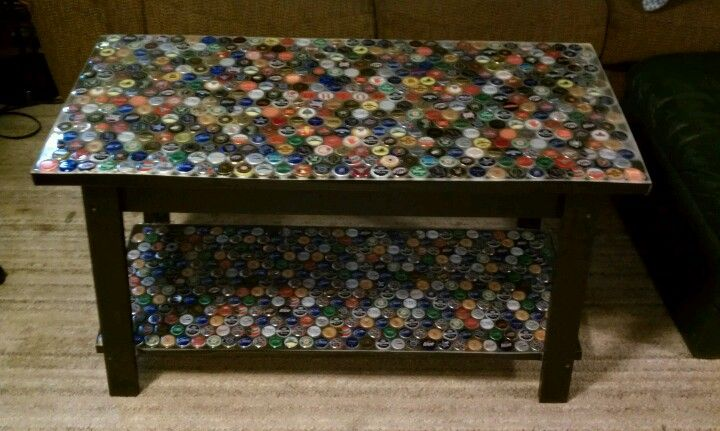 DIY Beer bottle cap table Would be a good addition to the cave I