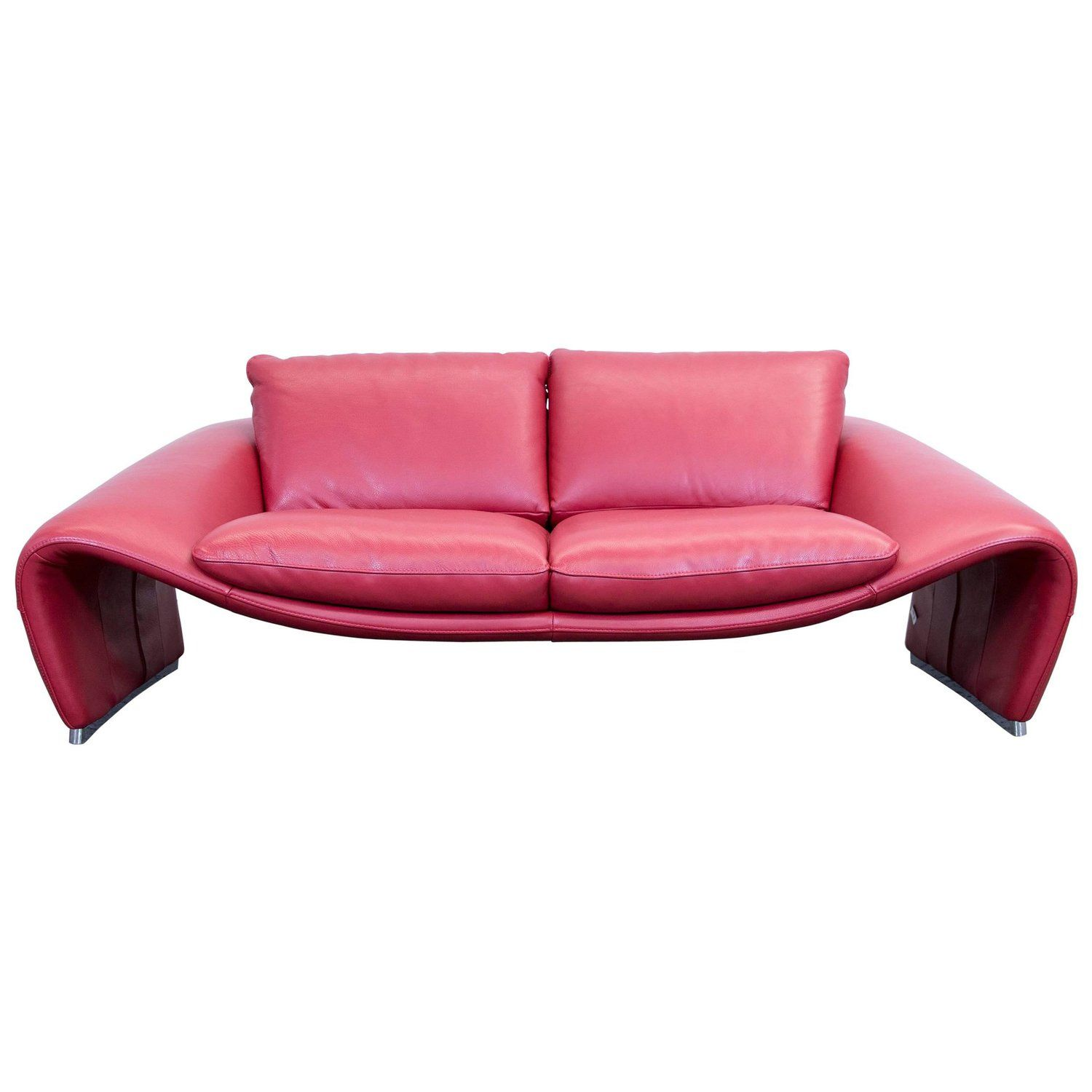 Chateau D Ax Voga Designer Sofa Leather Red Three Seat Function