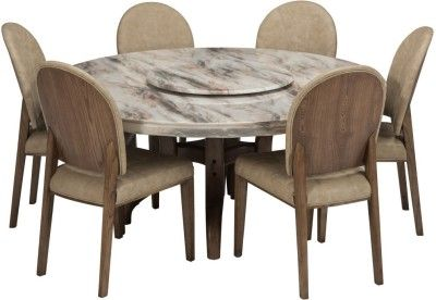 efb913787b Durian SINCLAIR Stone 6 Seater Dining Set(Finish Color - Cream ...