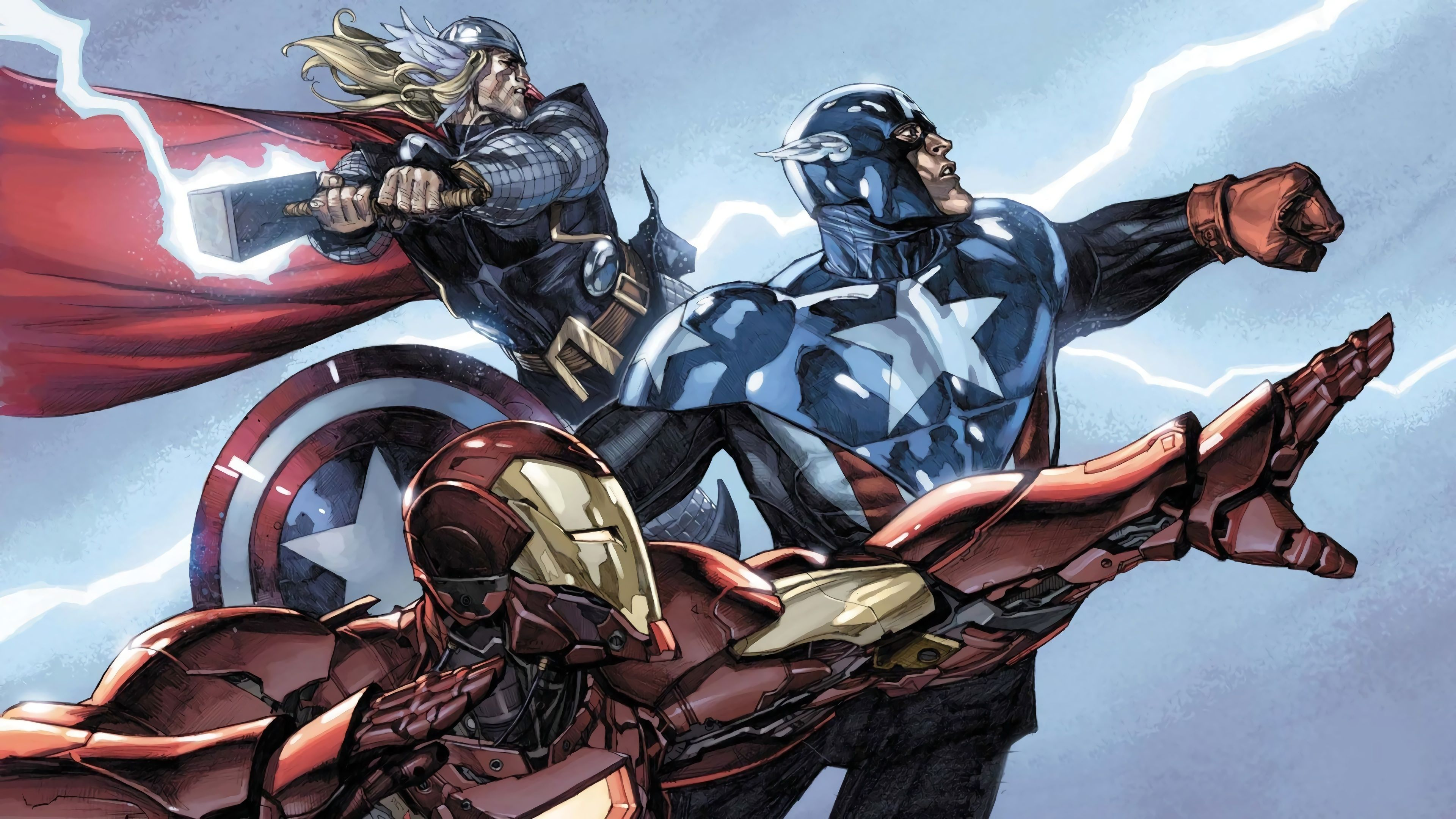 Iron Man Captain America Thor Marvel Comics 4K Wallpaper