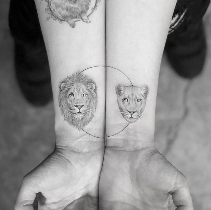 lion and lioness, wrist tattoos, soulmate tattoos, black and white tattoos