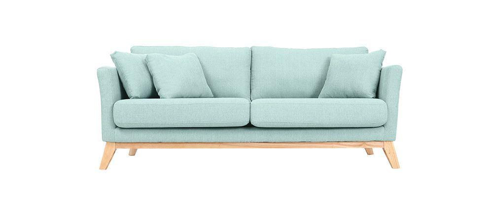 Sofa skandinavisch 3 Plätze Hellblau Holzbeine OSLO | Wohnung ...
