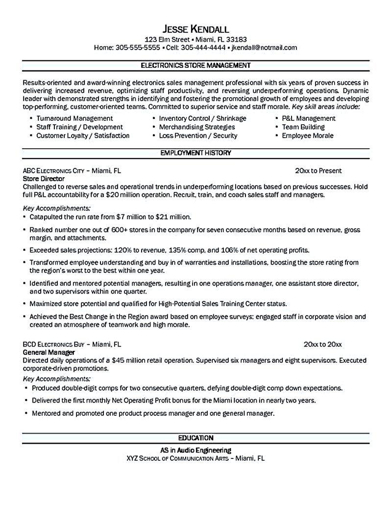 Assistant Store Manager Resume Store Manager Resume Should Be Written Clearly And Properly So You