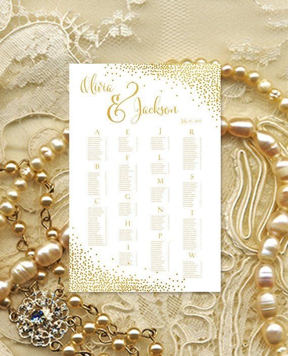 Wedding seating chart poster confetti gold reception plan rush digital file alphabe also rh pinterest