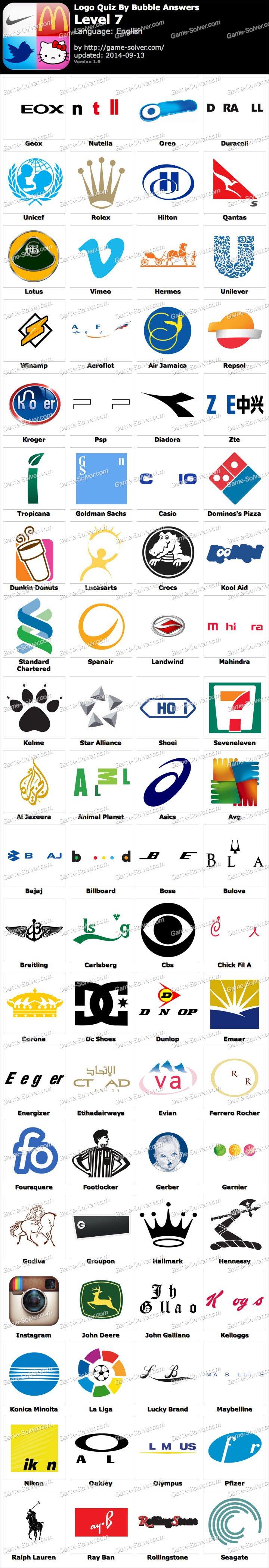 Logos Answers Level 7 : logos, answers, level, Bubble, Answers, Level, Quiz,, Answers,