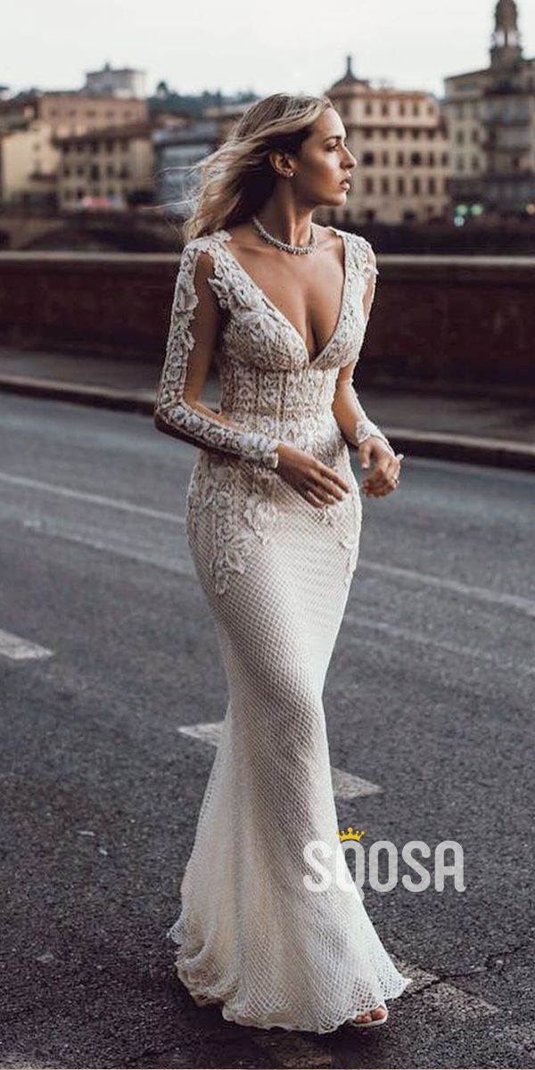 Photo of Attractive Deep V-Neck Illusion Long Sleeve Appliques Lace Mermaid Wedding Dress QW0882