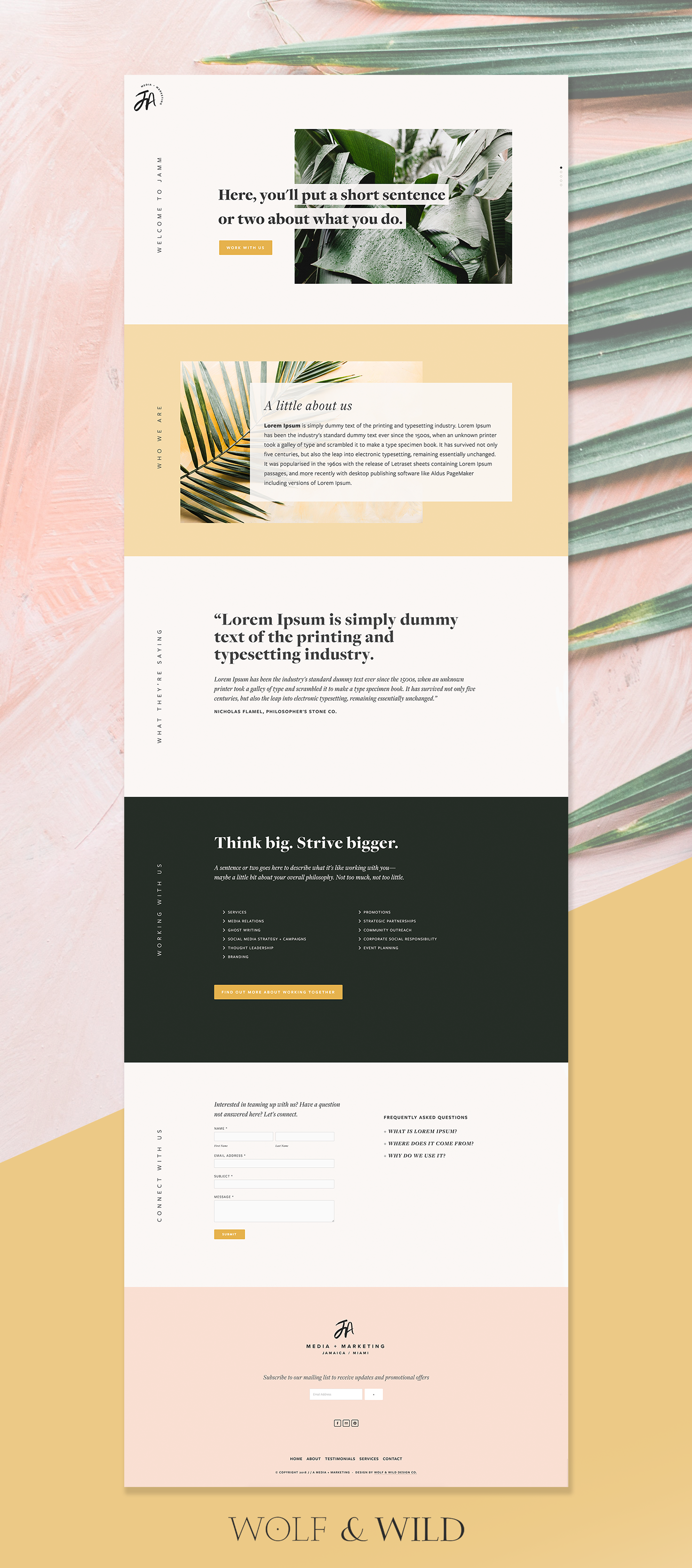 One Page Mobile Responsive Website For Jamaica Based J A Media Marketing Webdesignmarketing With Images Simple Website Design Web Design Web Layout Design