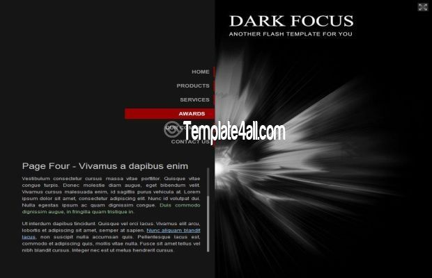free flash templates dark black theme design flash black