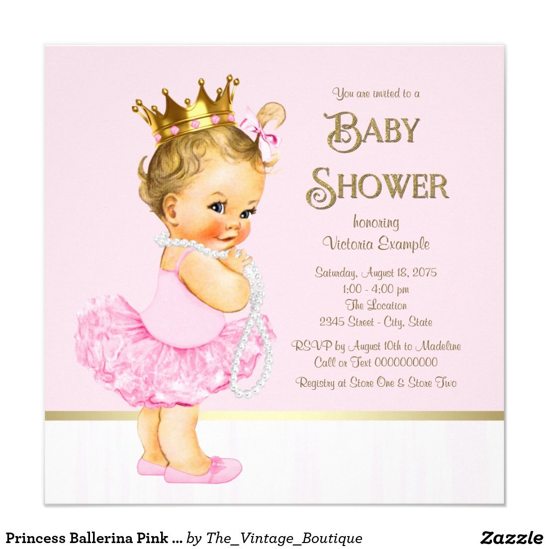 Princess Ballerina Pink Gold Baby Shower Card   Ballerina pink, Gold ...
