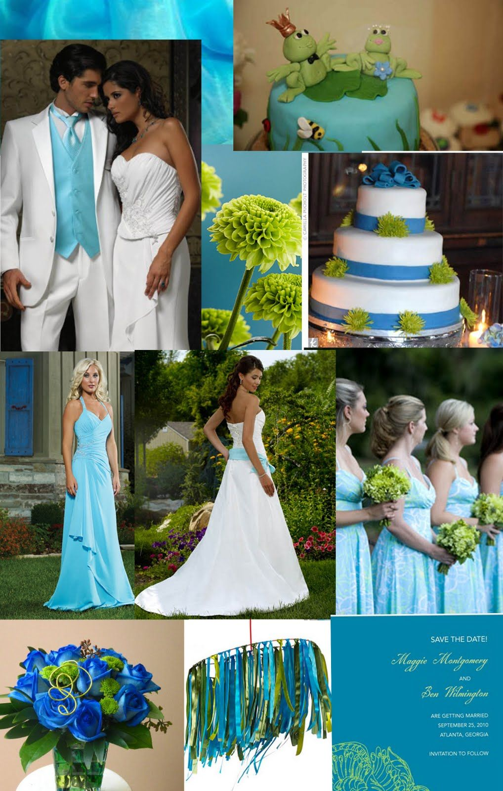Blue Green Turquoise Wedding Inspiration Board Blue Themed