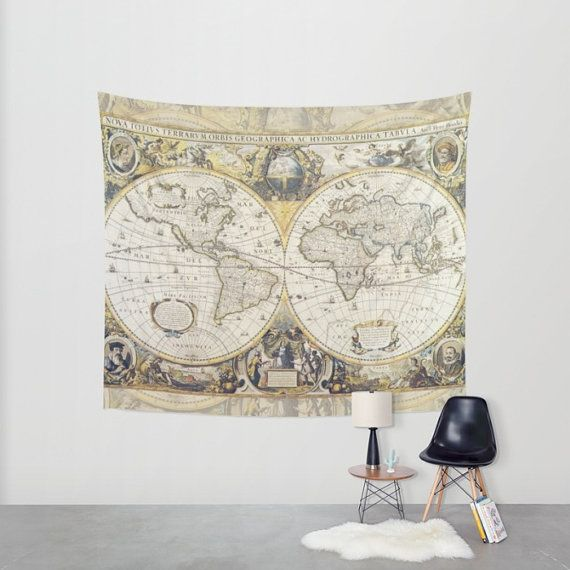 Antique World Map Tapestry.A World Map From Ancient Times Perfect Addition To Your Bedroom Or