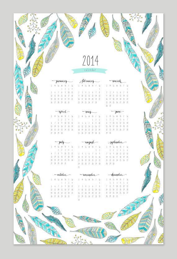 Printable Feather Calendar 2014 Calendar 11x17 Wall Calendar