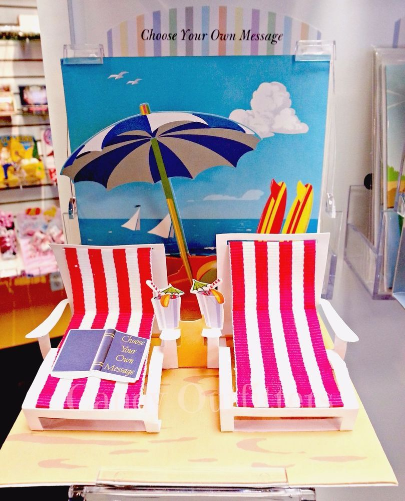 Cards   Pop Up Greeting Card   Personalize Gift   Beach Chairs   Vacation    3 D