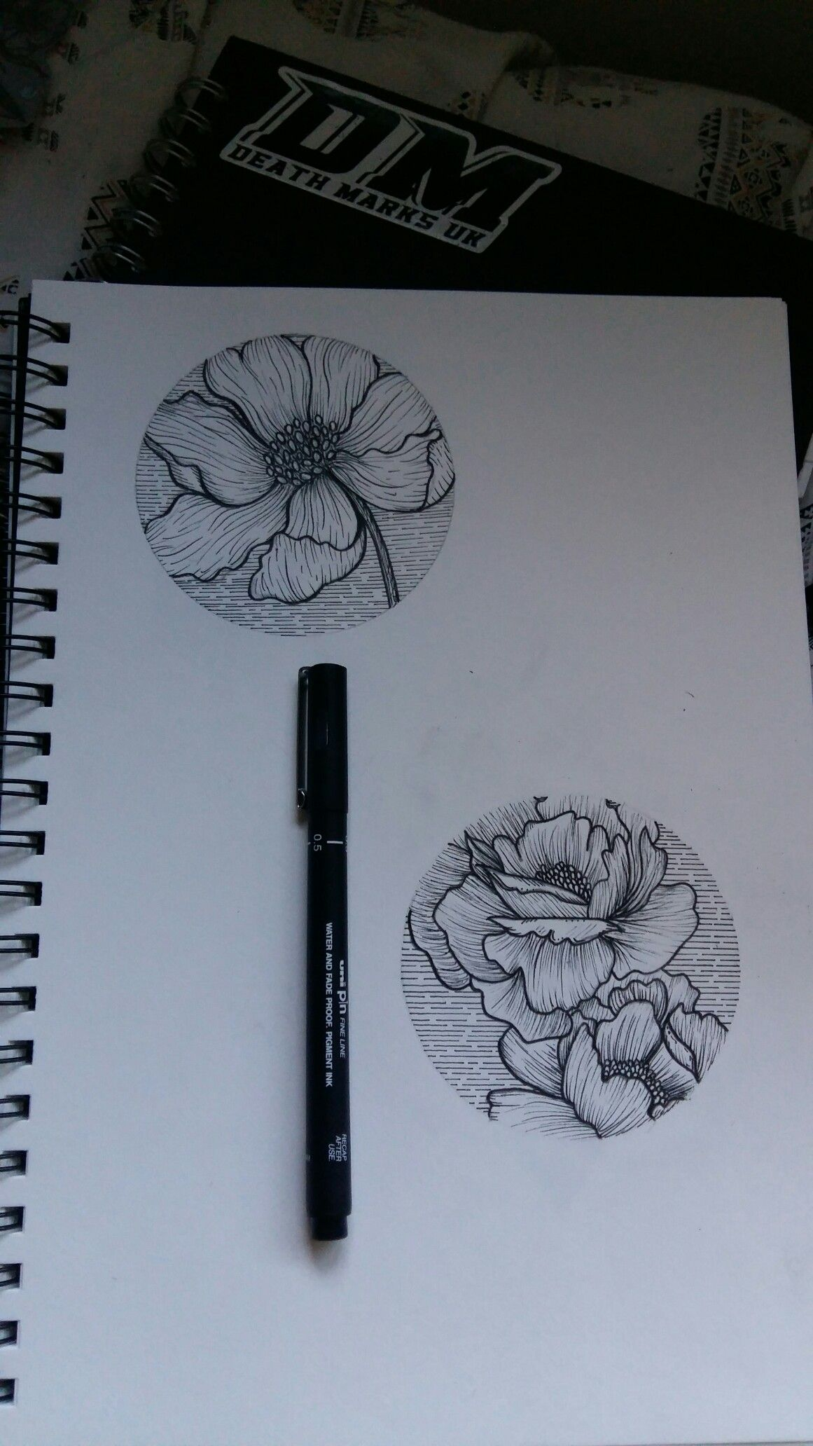 Poppy Line Drawing Tattoo : Poppy and peony floral circle tattoo design metallics