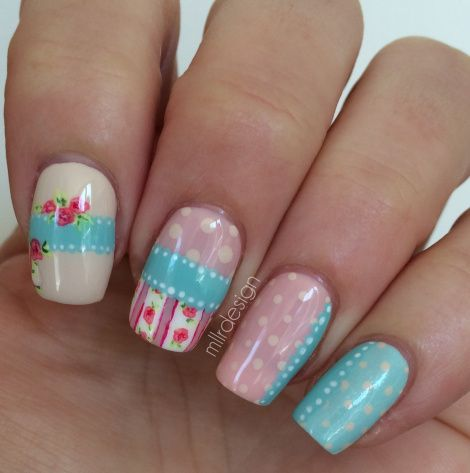 shabby chic inside  flower nails nail art nail designs
