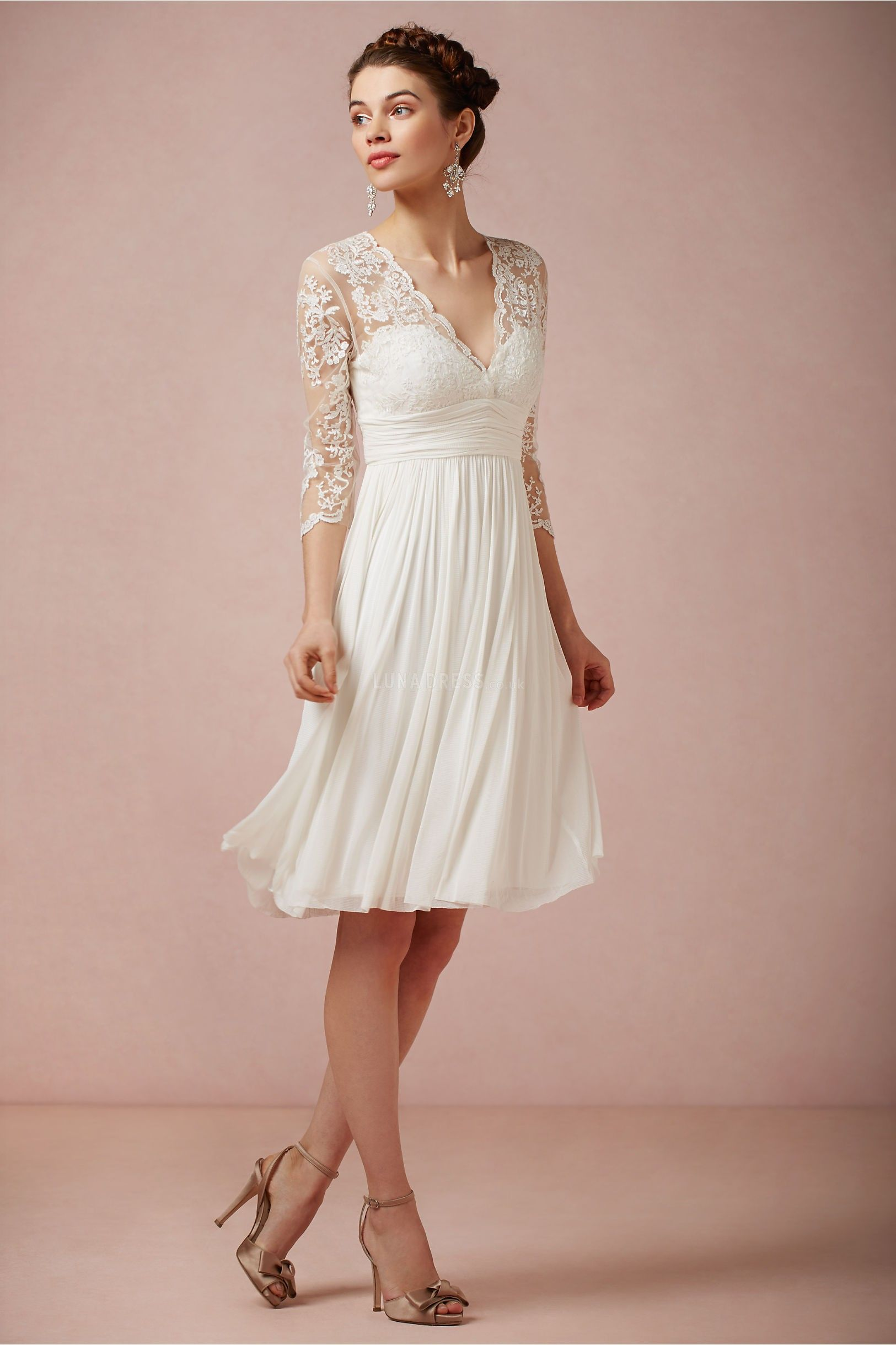 V Neck Lace Top Wedding Dress With Sleeves, V-Neck wedding dress ...