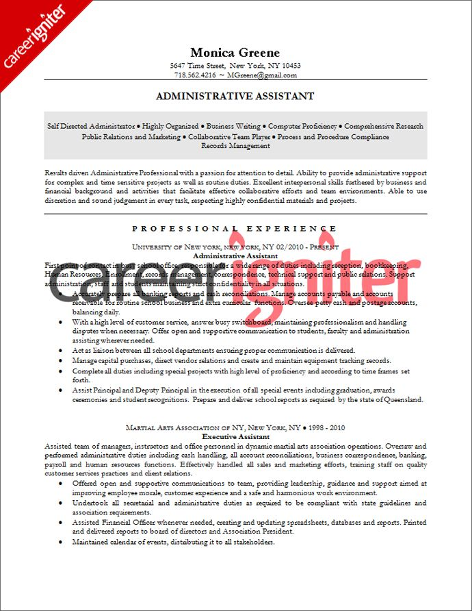 Administrative Assistant Resume Sample Resume Pinterest - Administrative Professional Resume