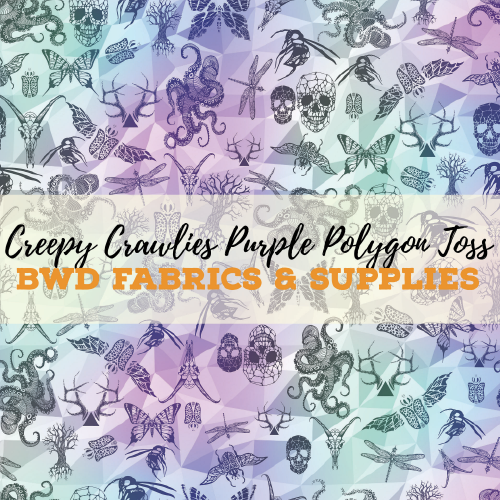 81c70a9c3f3 BWD Exclusive - Creepy Crawlies Purple Polygon Toss on Cotton Spandex  Jersey Knit Fabric