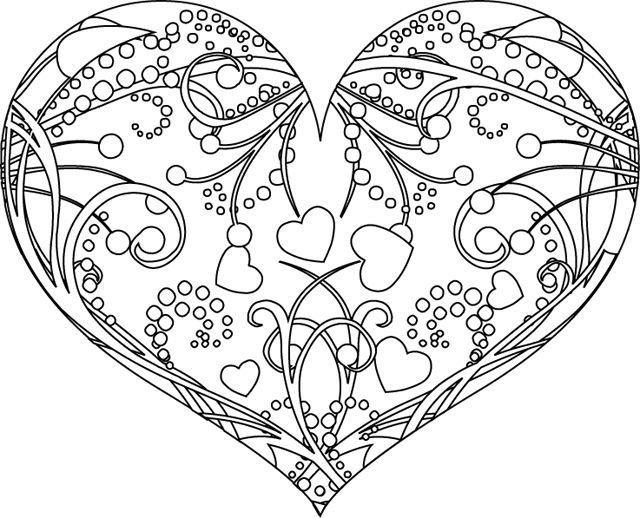 Coloriage de la Saint-Valentin. A vos crayons ! | Heart coloring pages, Coloring pages, Coloring ...