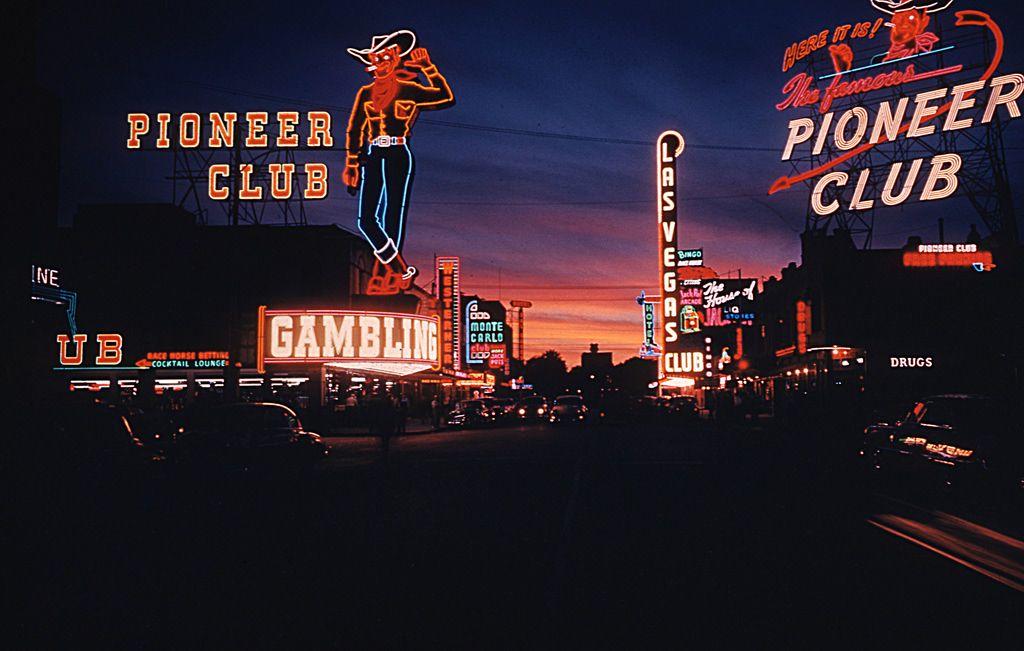 Sunset & neon in downtown Las Vegas 1953