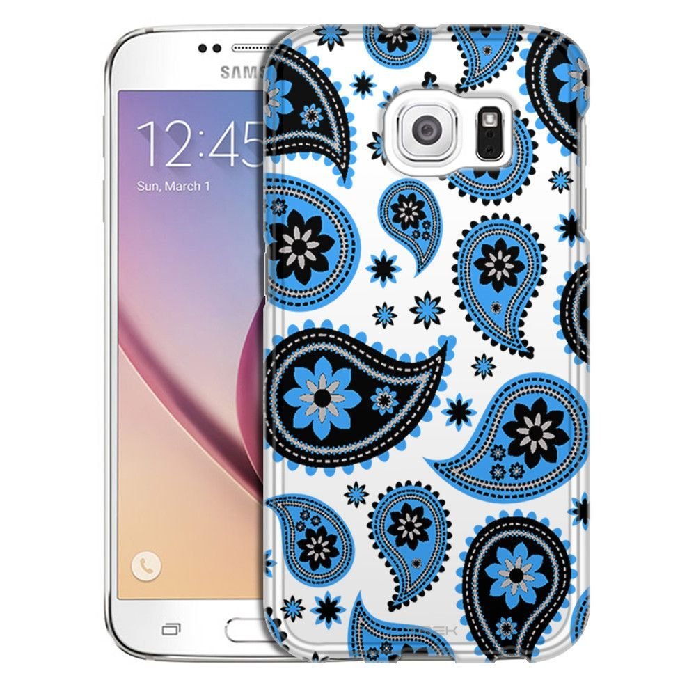 Samsung Galaxy S6 Paisleys Cute Blue on White Slim Case