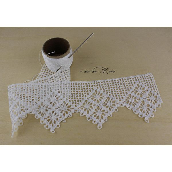 MADE TO ORDER Pizzo a uncinetto fatto a mano su ordinazione Handmade... (€26) ❤ liked on Polyvore featuring home and home decor