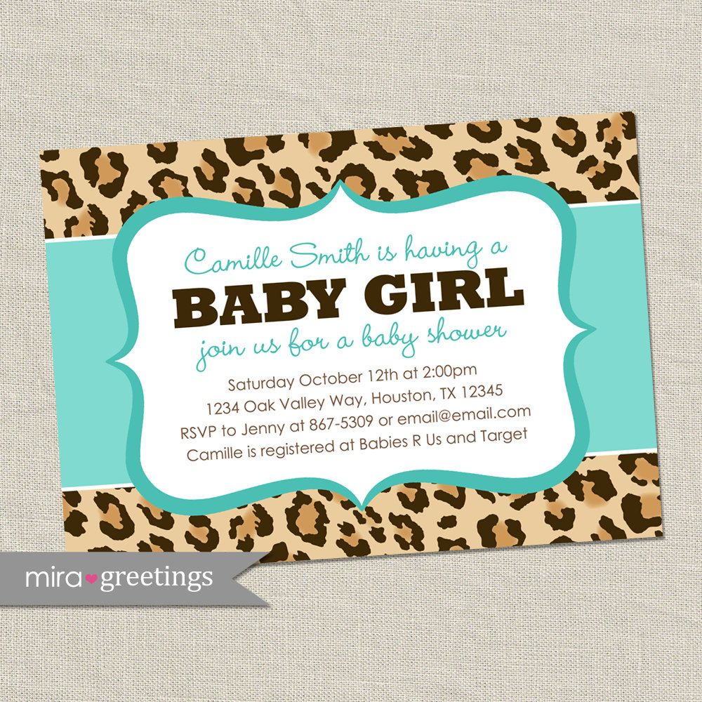 Leopard Baby Shower Invitation - africa animal pattern - blue baby ...