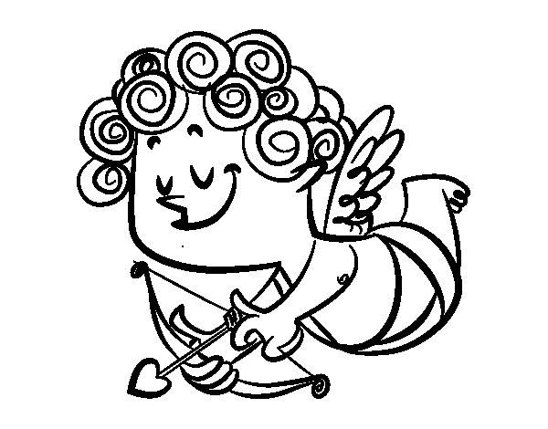 Dibujo de Cupido con rizos para colorear  Dibujos de San Valentn