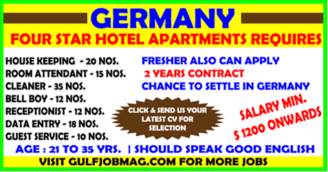 Germany Four Star Hotel Vacancy With Images Room Attendant