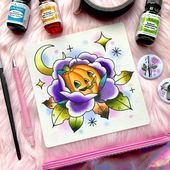 Horror Spooky Halloween Jack O Lantern Traditional Tattoo Flash Watercolor PRINT by Michelle Kent