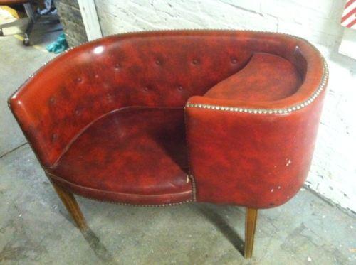 Mid Century Modern Vintage Red Vinyl Diner Style Gossip Bench Retro Invm