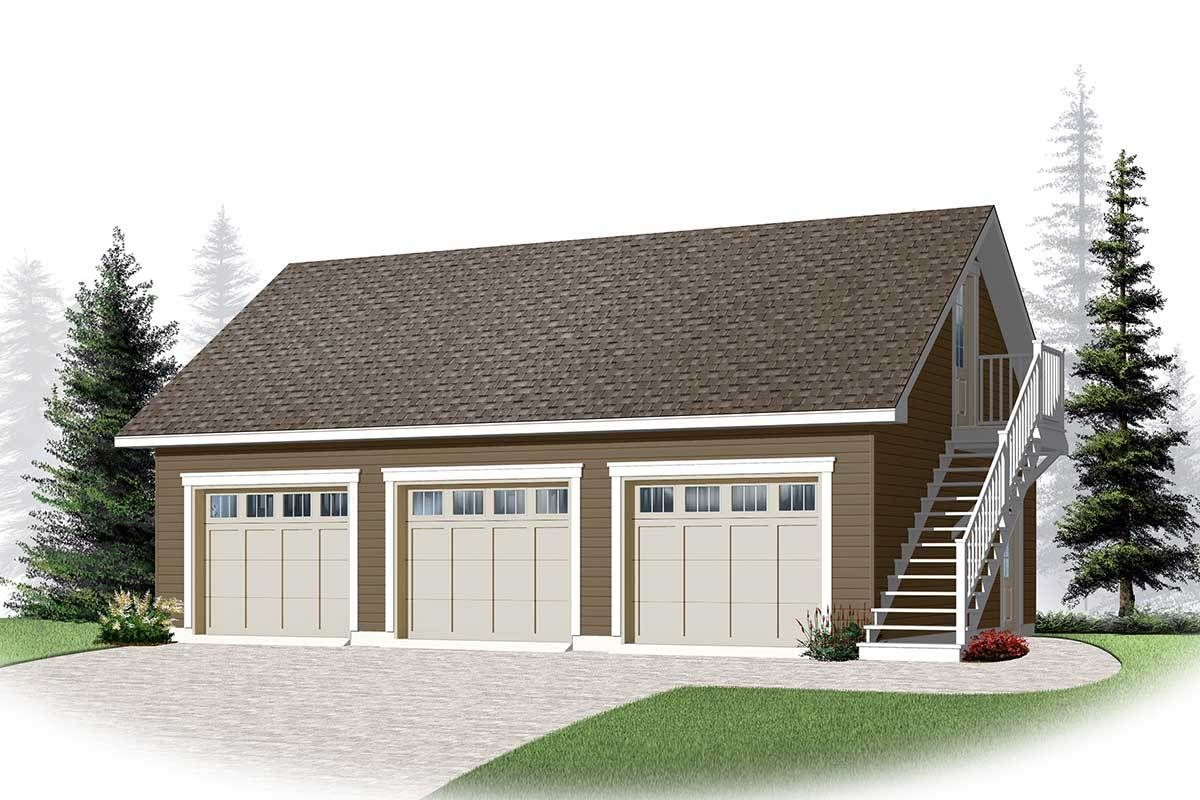 Plan 22364dr 3 Car Garage With Bonus Storage Garage Plans Detached Garage Loft Garage Plans With Loft