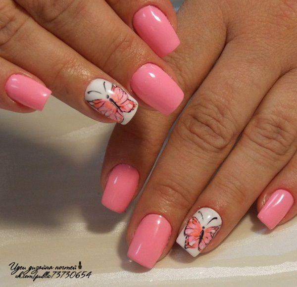 25 Butterfly Nail Art Ideas Pink Manicure Butterfly Nail Art