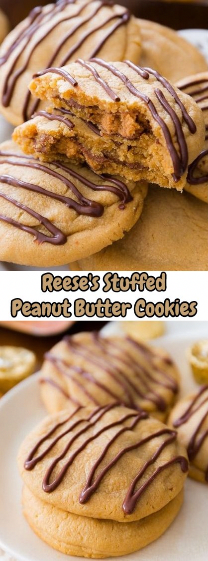 Super soft peanut butter cookies stuffed with Reese's Peanut Butter Cups and drizzled with peanut butter/chocolate. A peanut butter lover's dream! #peanutbuttersquares Super soft peanut butter cookies stuffed with Reese's Peanut Butter Cups and drizzled with peanut butter/chocolate. A peanut butter lover's dream! #cookieswithreeses #peanutbuttersquares