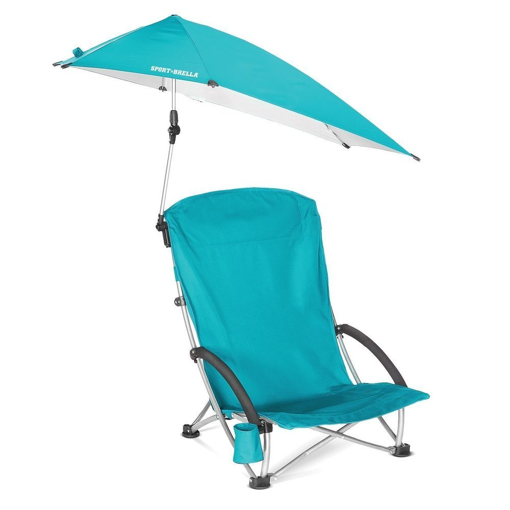 Camping chairs with umbrella - Outdoor Beach Camping Chair Swivel Portable Folding Umbrella Canopy Shade Aqua Sportbrella