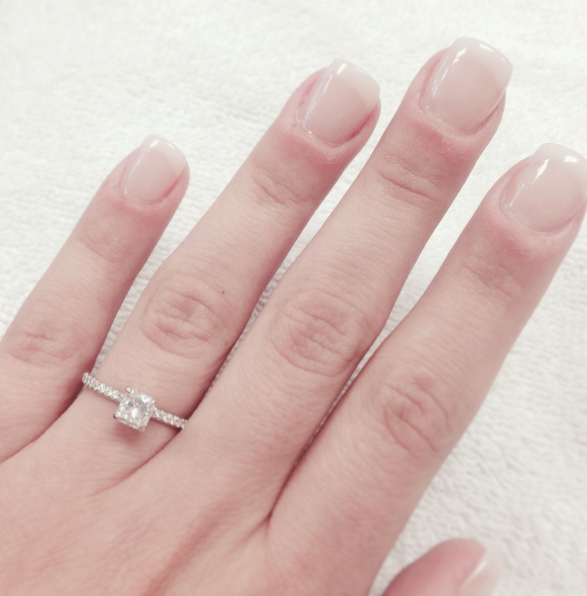 Radiant cut diamond. American manicure. Natural looking nails ...