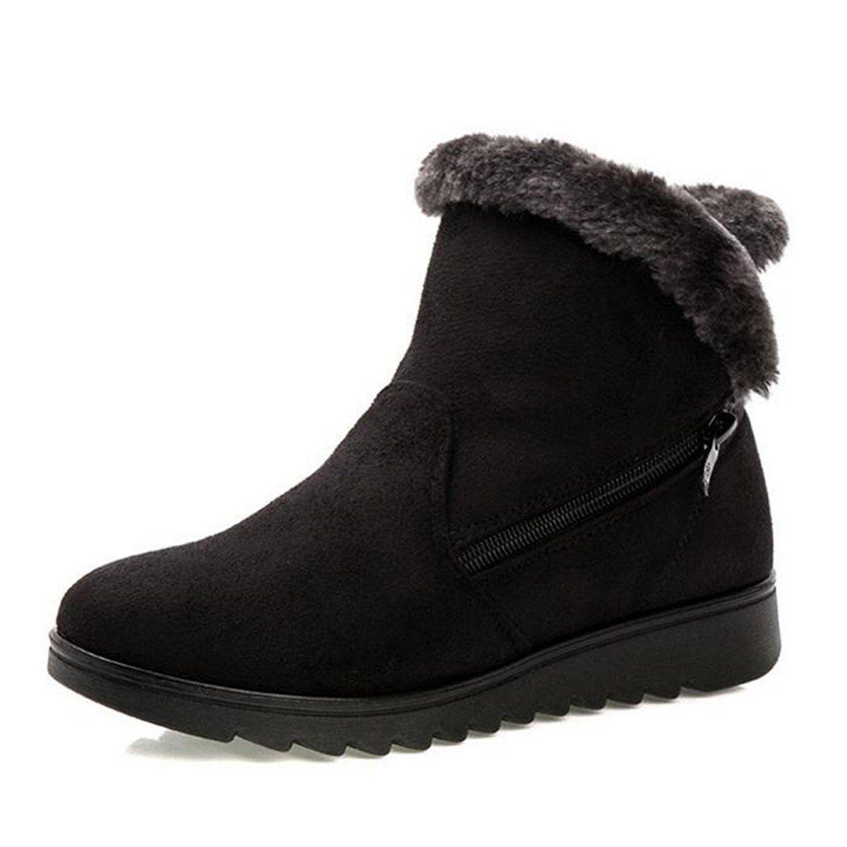 Dear Time Women Zipper Block Heels Ankle Boots