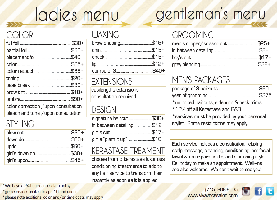 hair style menu viva voce hair salon menu with services and prices 7271 | 33b1910ab70e540469642c441fb46243