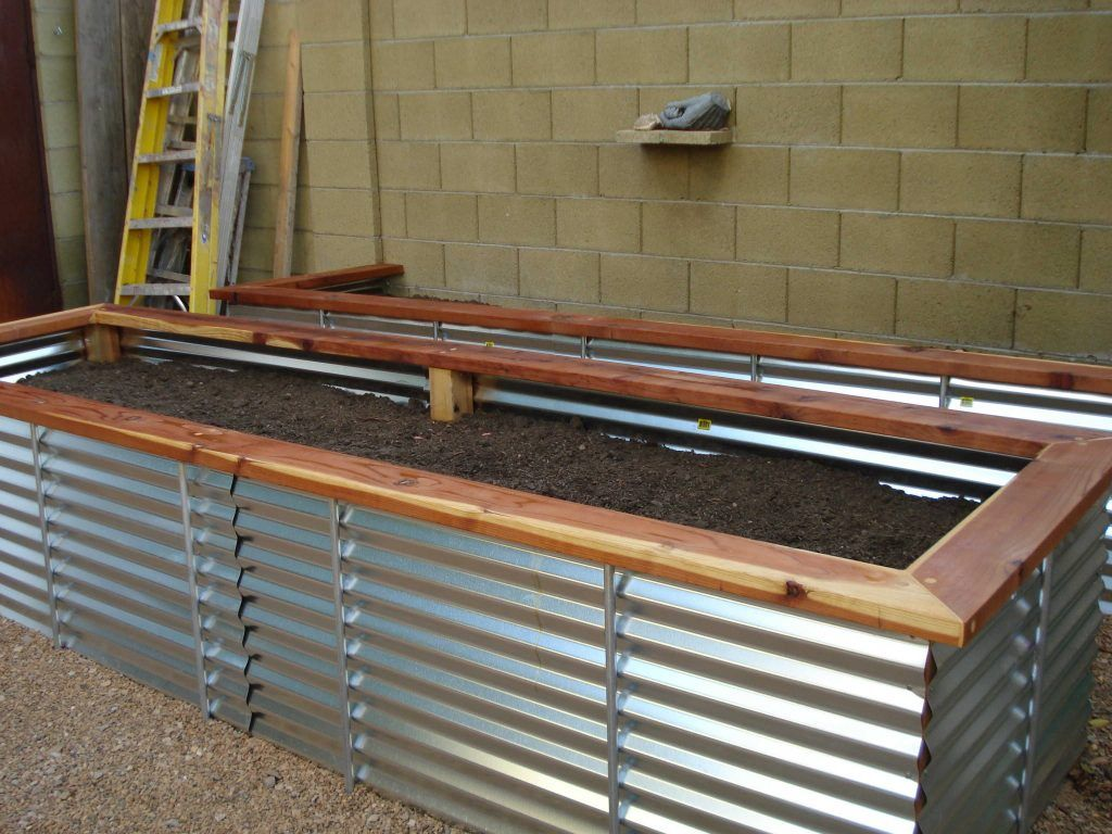 Raised Garden Beds Corrugated Metal Diy Ideas Planter Boxes Plans Box Lowes With Images Metal Raised Garden Beds Planter Beds