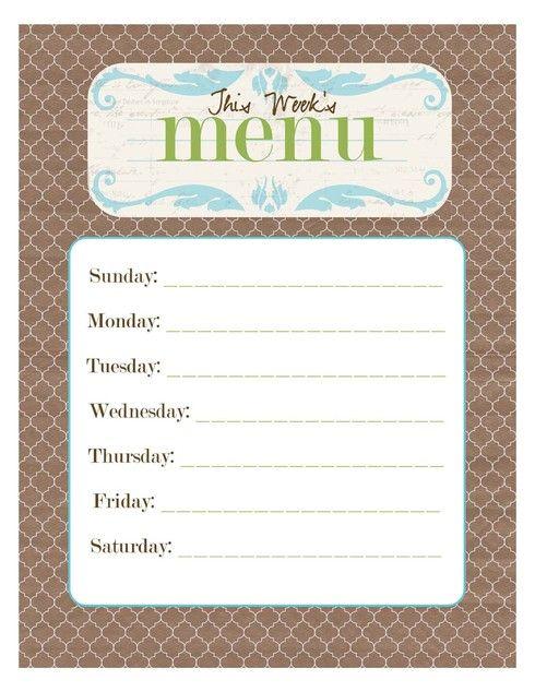 Free Menu Planner Printables  Printable Menu Menu Boards And Menu