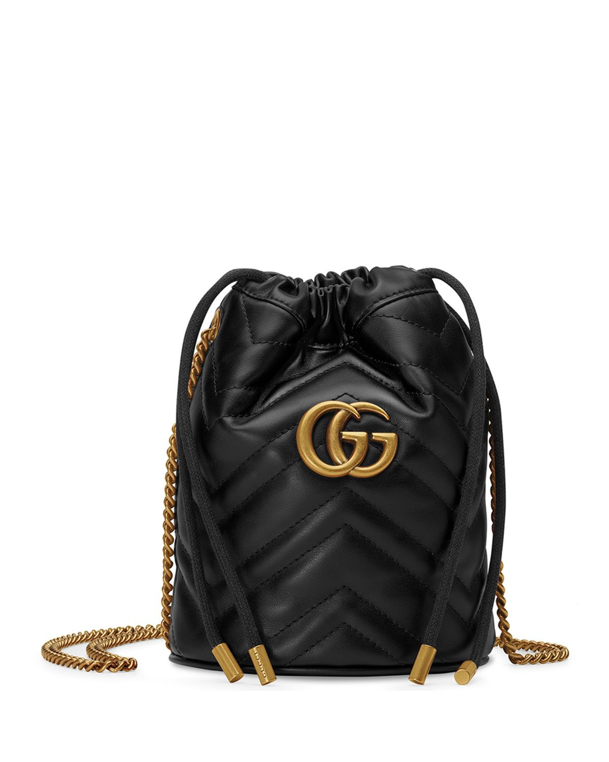 GUCCI GG MARMONT 20 MINI LEATHER BUCKET BAG bags