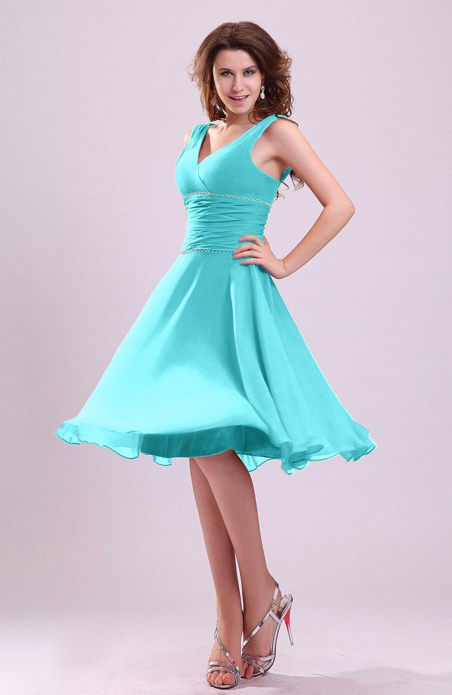 Turquoise Bridesmaid Dress - Cute A-line Sleeveless Chiffon Knee ...