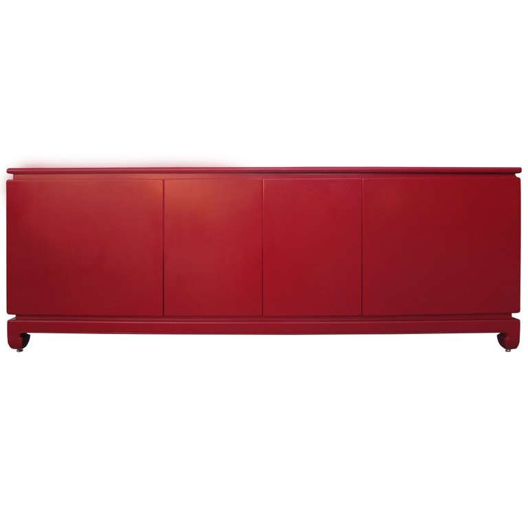 Impressive Red Lacquer Credenza / Buffet / Sideboard | New On 1stdibs.com  #credenza. Chinese Furniture1stdibs ...