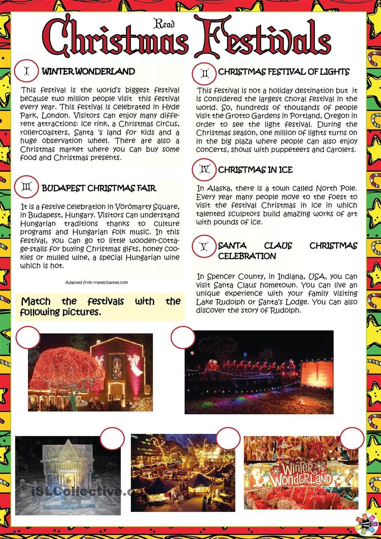 Christmas Festivals Christmas Reading Christmas Worksheets Christmas Lesson [ 1440 x 1018 Pixel ]