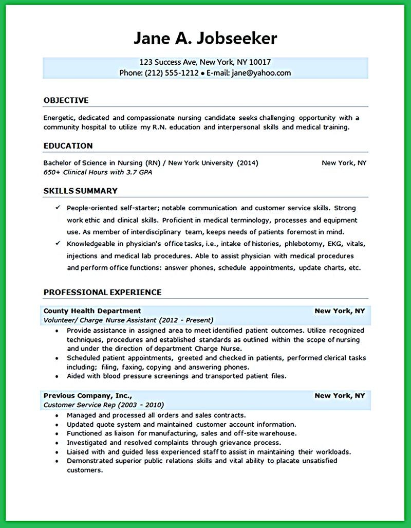 Nursing Student Resume Samples And Tips With Images Nursing