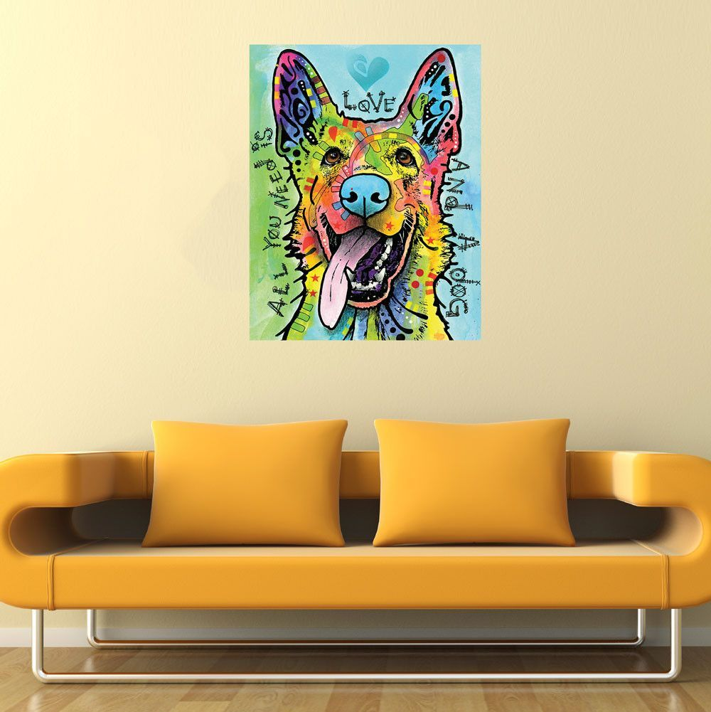German Shepherd Pop Art Decal - Love and a Dog by Dean Russo | Dean ...