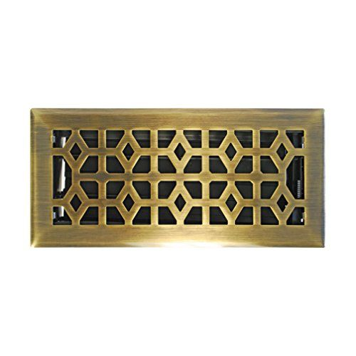 Antique Brass Duct Opening Measurements Accord AMFRABM410 Floor Register with Marquis Design 4-Inch x 10-Inch