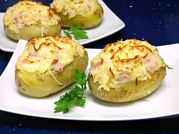Patatas Rellenas De Jamon Y Queso Recetas Con Patatas Recetas De Patatas Rellenas Patata Rellena